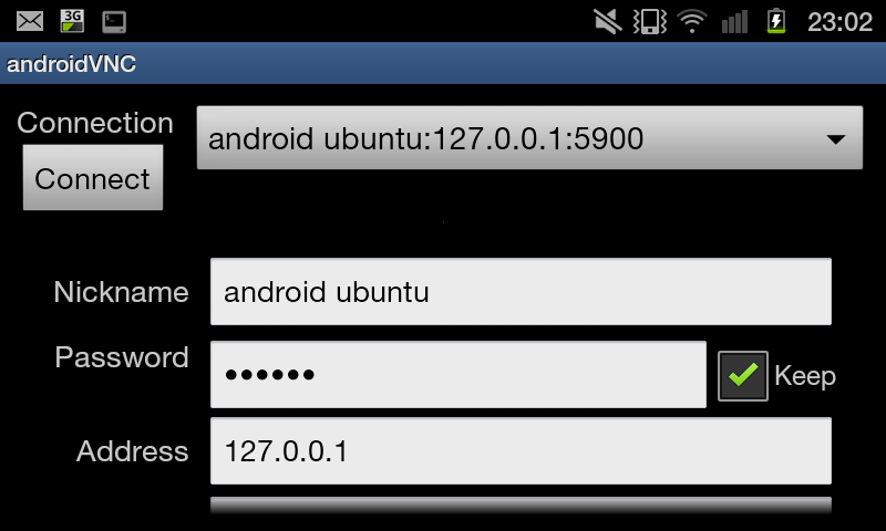Configure vnc viewer android