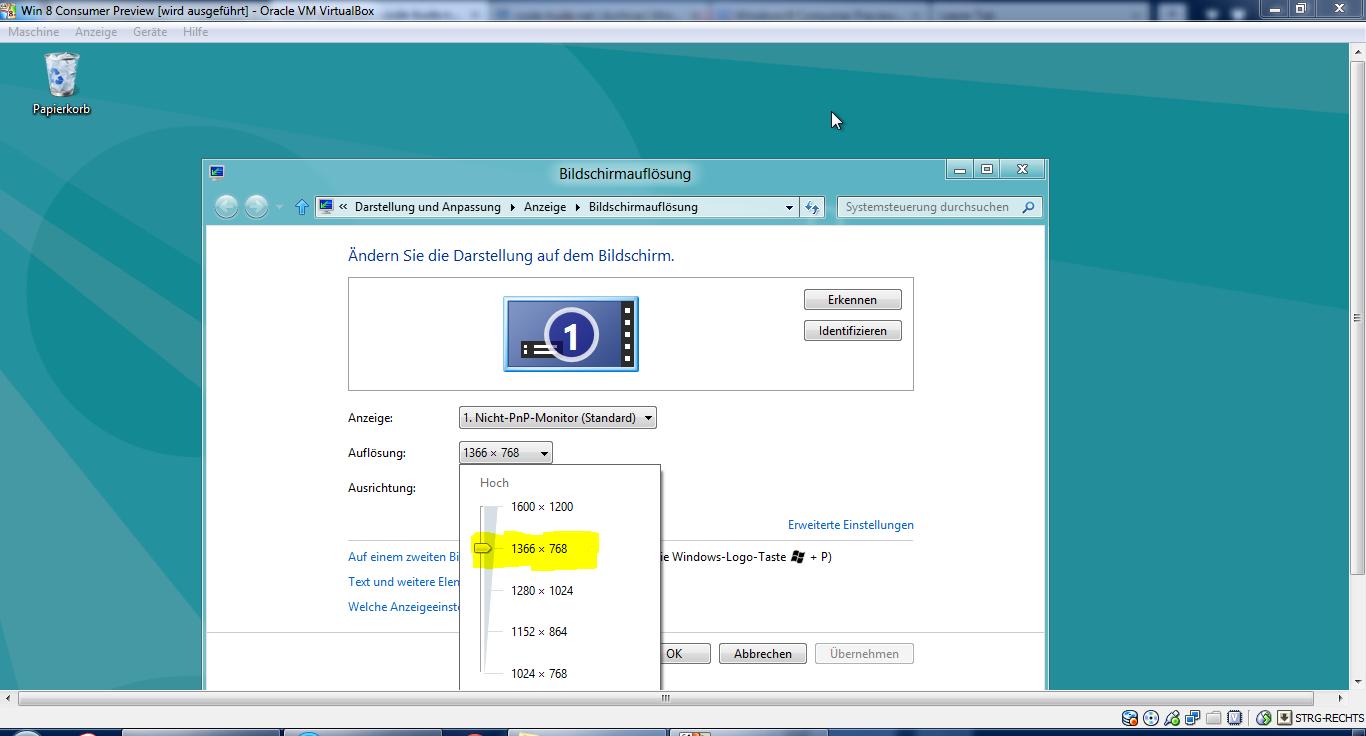 Adjusting the screen resolution in VirtualBox | en code-bude net