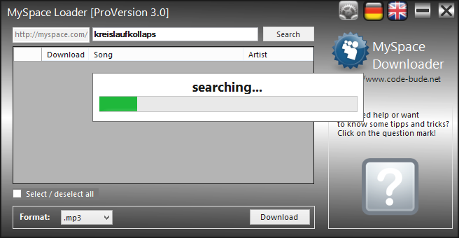 MySpace Loader – a free and easy to use myspace com