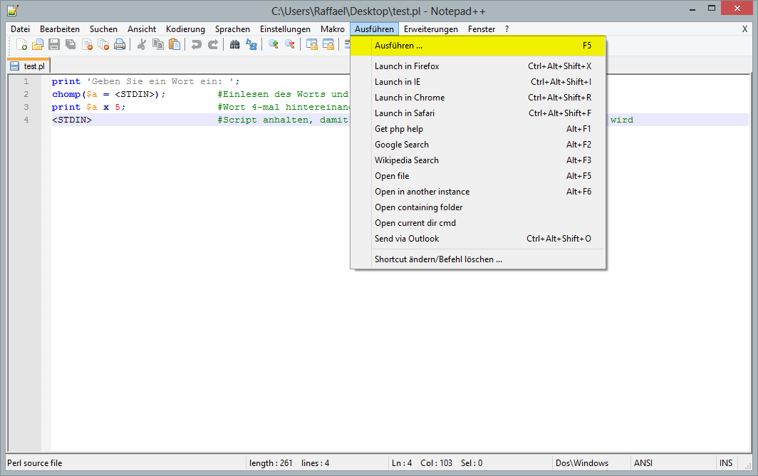 How to execute Perl scripts in Notepad++ | en code-bude net