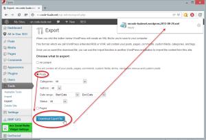 Wordpress Artikel exportieren