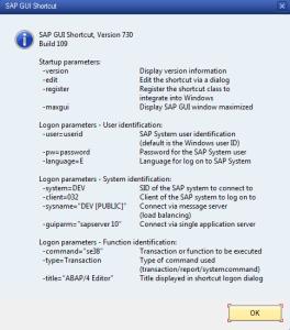 sapshcut.exe - Command list