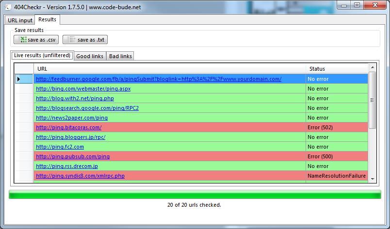 404Checkr – a fast and free bulk link checker | en code-bude net