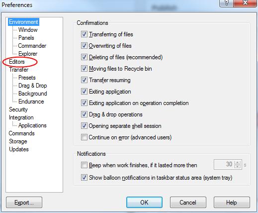 How to set default editor in WinSCP | en code-bude net