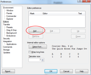 how to setup a custom text editor in WinSCP - step 4