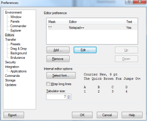 how to setup a custom text editor in WinSCP - step 6