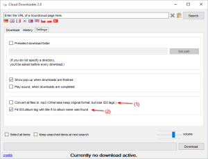 Cloud Downloader 2.8 - new download settings