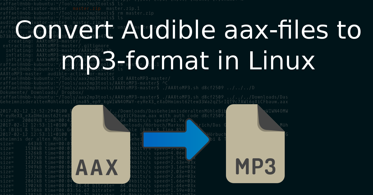 How to convert Audible aax files to mp3 in Linux | en code-bude net