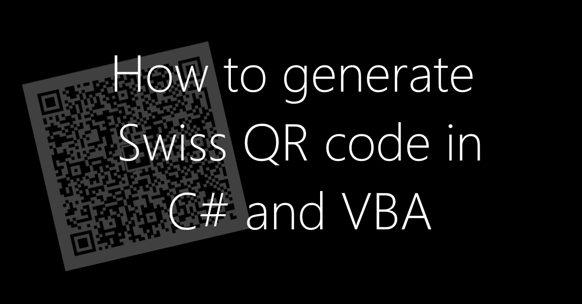 How to generate Swiss QR Code in C# and VBA