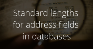 Standard lengths for address fields in databases